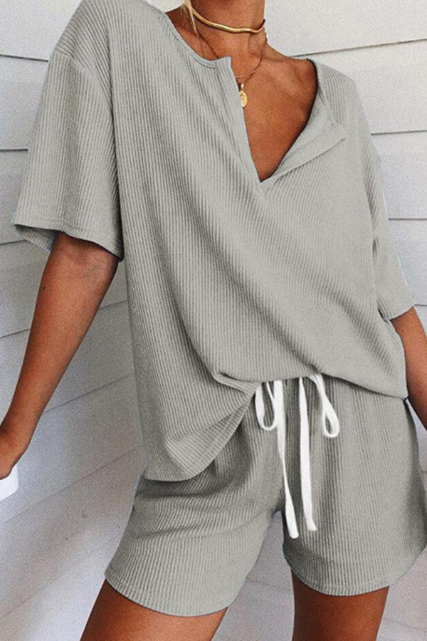 Lovely Casual Lace-up Grey Two-piece Shorts Set