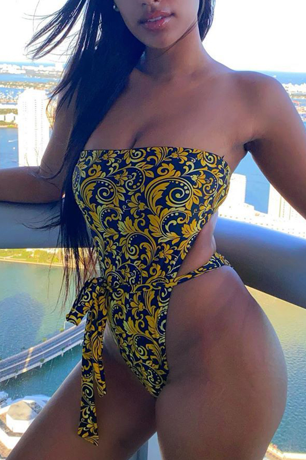 Lovely Print Yellow One-piece Swimsuit