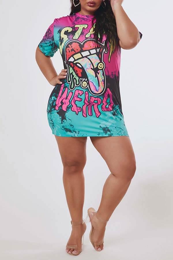 Lovely Leisure O Neck Print Multicolor Mini Plus Size Dress