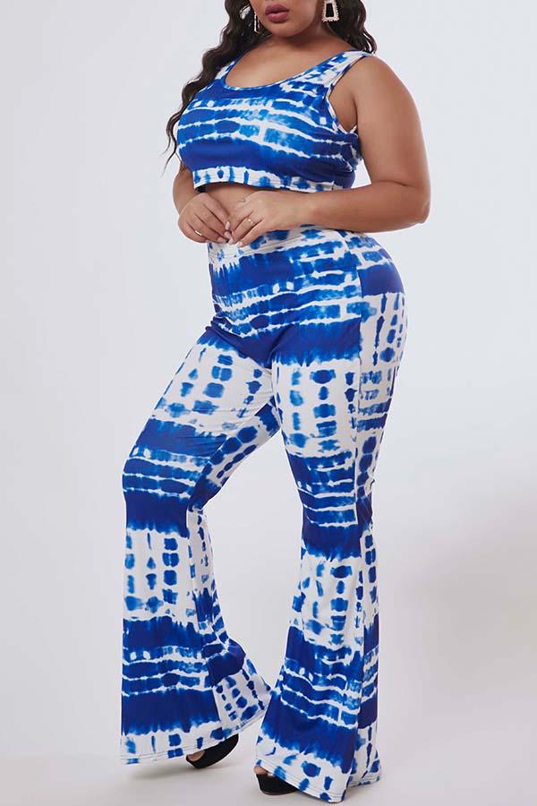 Lovely Trendy Print Blue Plus Size Two-piece Pants Set
