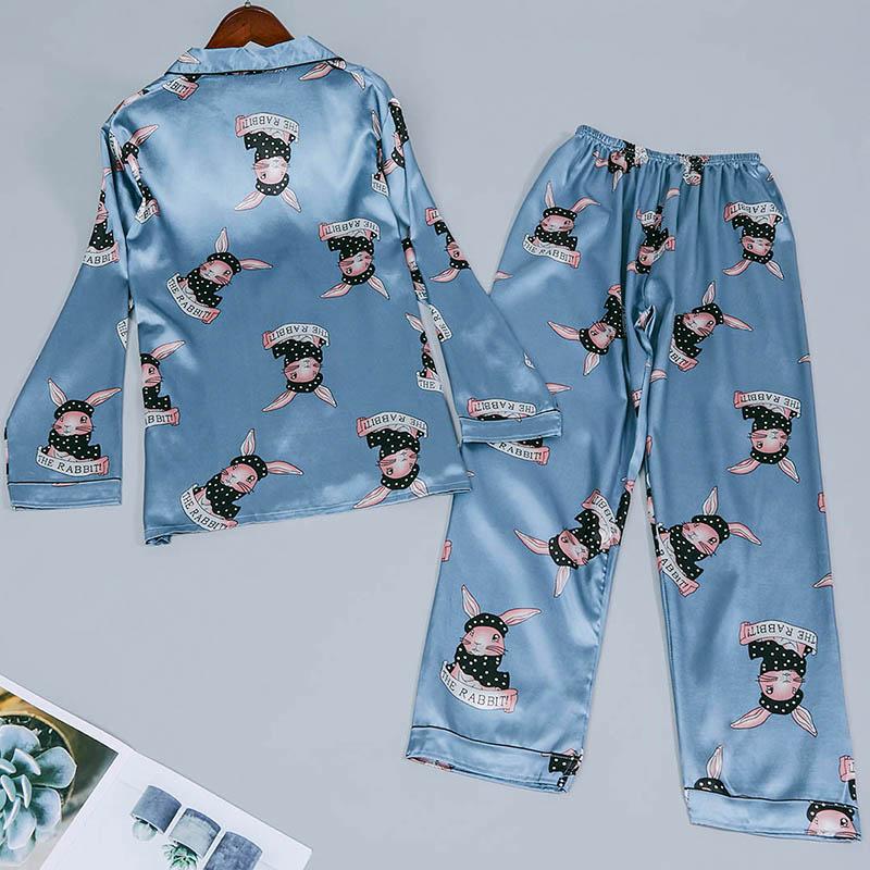 Lovely Sweet Rabbit Print Blue Sleepwear
