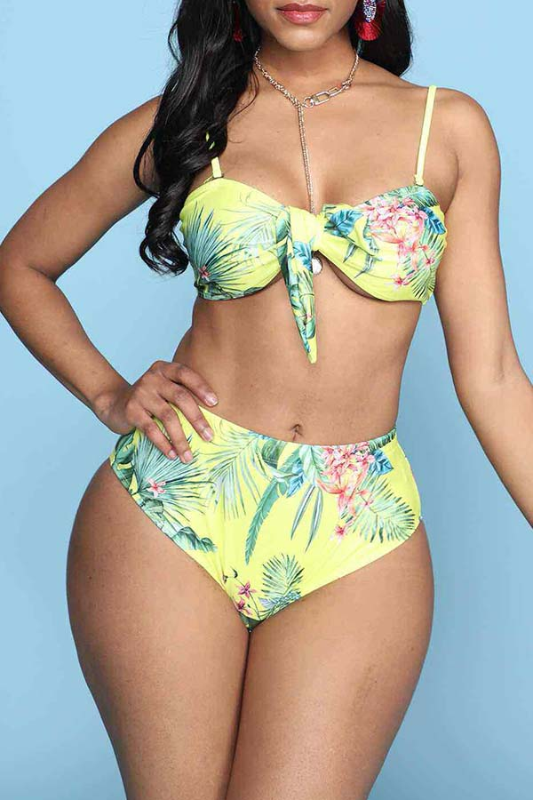 Lovely Plants Print Yellow Two-piece Swimsuit