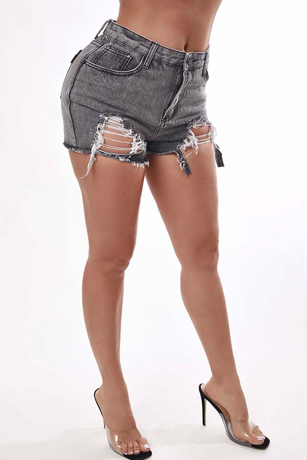 Lovely Trendy Hollow-out Grey Shorts