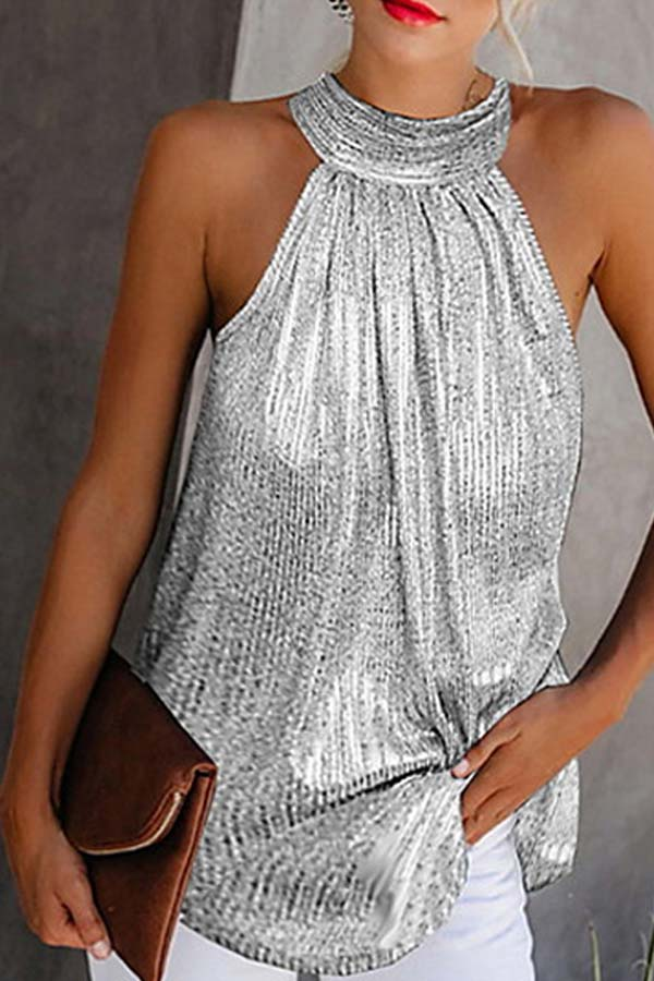 Lovely Trendy Sleeveless Silver Plus Size Camisole