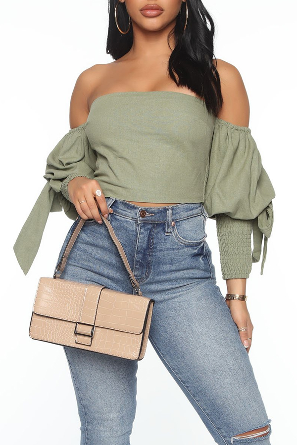 Lovely Trendy Lace-up Green Blouse