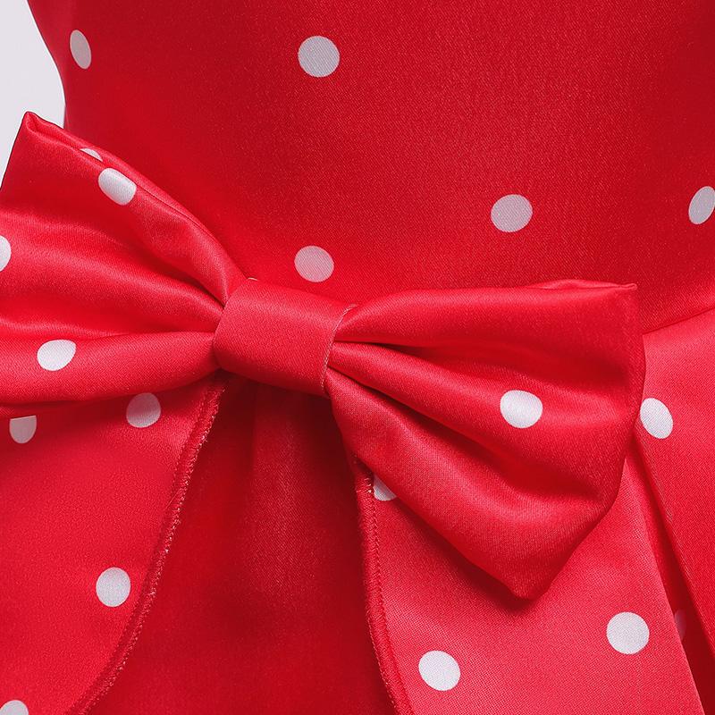 Lovely Sweet Dot Print Red Girl Knee Length Dress