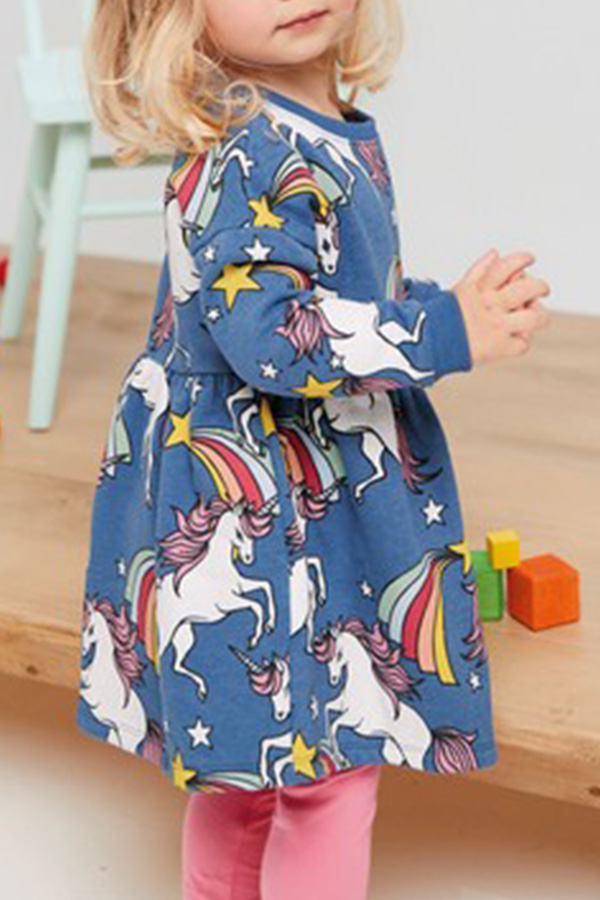 Lovely Sweet Print Blue Girl Knee Length Dress