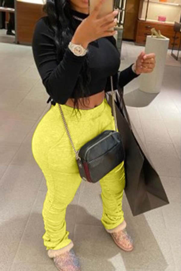 Lovely Casual Basic Skinny Yellow Pants