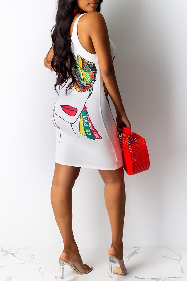 Lovely Casual O Neck Print White Knee Length Dress