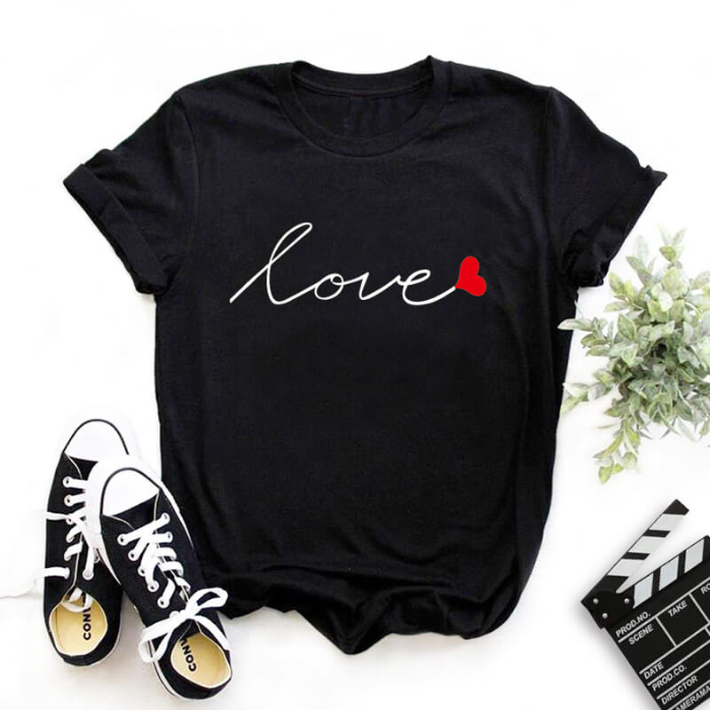 Lovely Leisure O Neck Print Black T-shirt