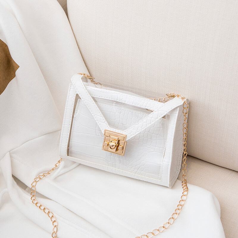 Lovely Trendy Chain Strap White Crossbody Bag