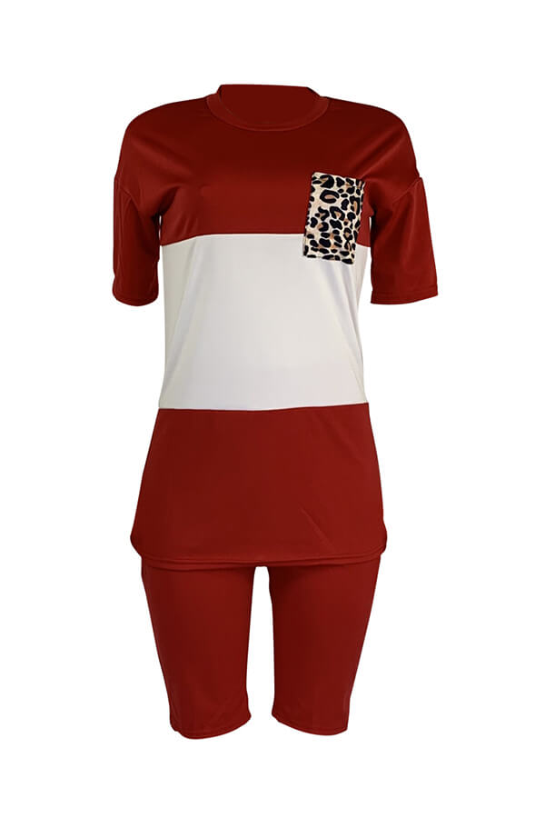 Lovely Casual Patchwork Red Two-piece Shorts Set