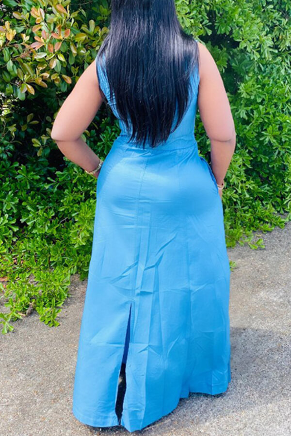 Lovely Trendy Buttons Design Baby Blue Maxi Dress