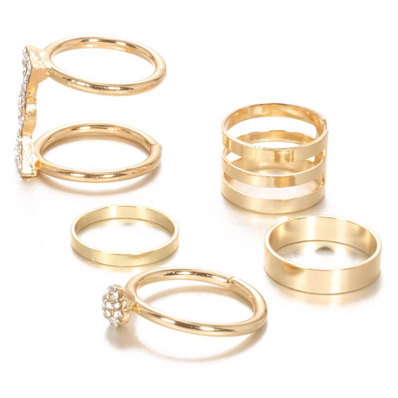 Lovely Trendy 5-piece Gold Ring