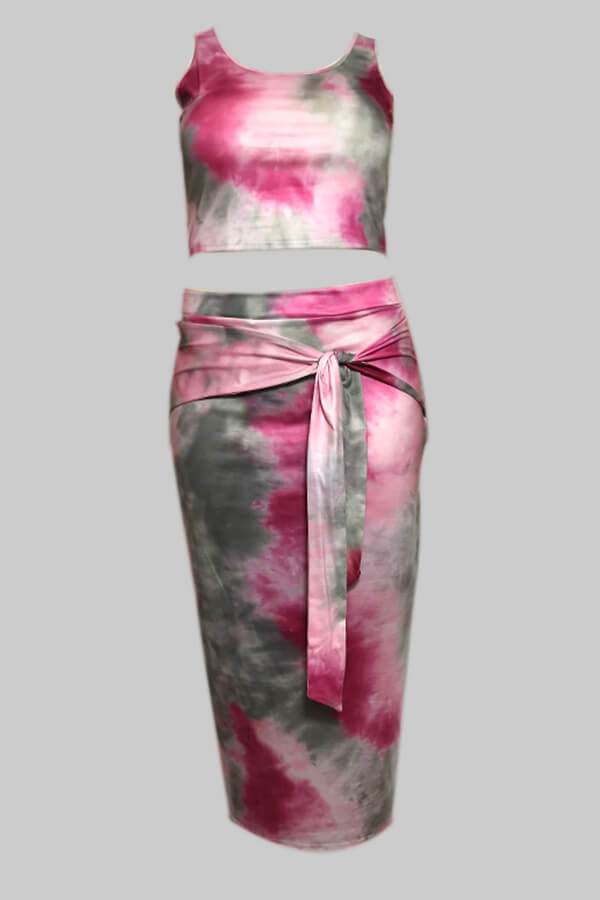 Lovely Casual Tie-dye Pink Plus Size Two-piece Skirt Set