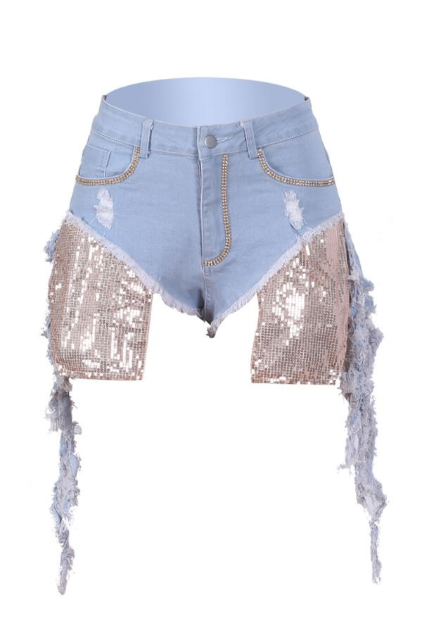 Lovely Stylish Patchwork Baby Blue Shorts