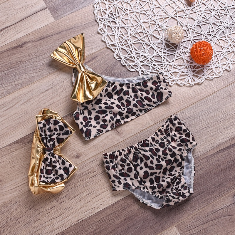 Lovely Leopard Print Girl Two-piece Swimsuit
