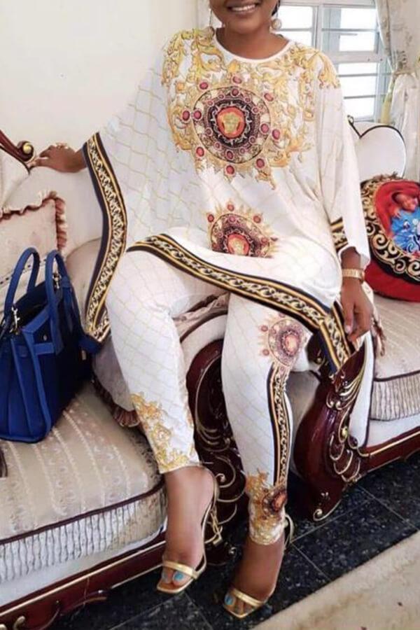 Lovely Bohemian Print White Two-piece Pants Set