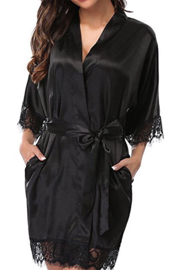 Lovely Sexy Lace Patchwork Black Babydolls