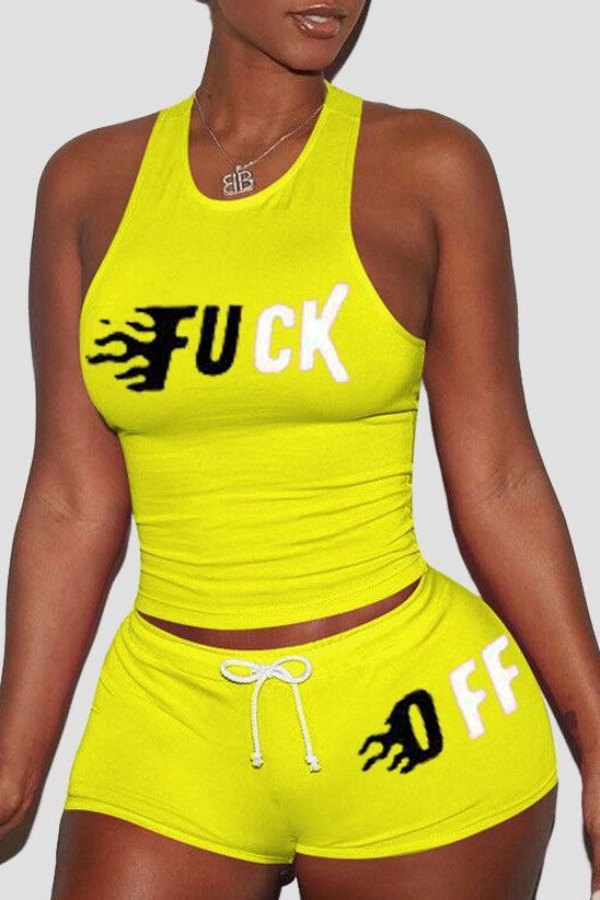 Lovely Casual Letter Yellow Plus Size Two-piece Shorts Set