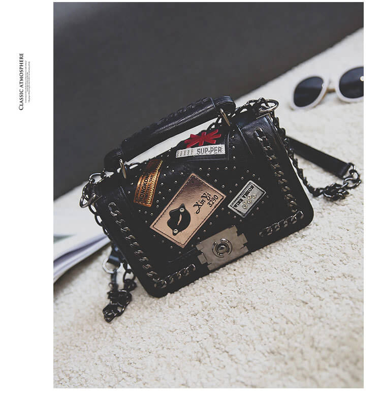 Lovely Retro Chain Strap Black Crossbody Bag