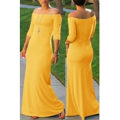 Lovely Bohemian Dew Shoulder Yellow Maxi Dress
