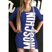 Lovely Trendy Letter Print Blue Mini Dress
