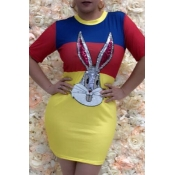 Lovely Casual O Neck Cartoon Sequined Yellow Mini