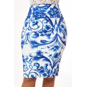 Lovely Trendy Print Blue Skirt
