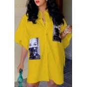 Lovely Casual Print Yellow Knee Length Shirt Dress