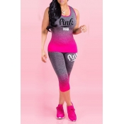 Lovely Sportswear Letter Print Rose Red Two-piece