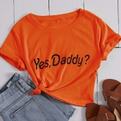 Lovely Leisure Letter Print Orange T-shirt