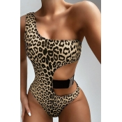 Lovely One Shoulder Black One-piece Swimsuit