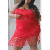 Lovely Stylish Tassel Design Red Plus Size Two-pie