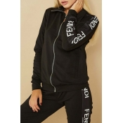 Lovely Casual Letter Print Black Loungewear