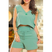 Lovely Trendy V Neck Buttons Design Green Two-piec