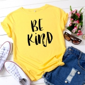 Lovely Leisure O Neck Letter Print Yellow Plus Siz