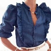 Lovely Sweet Flounce Design Blue Blouse