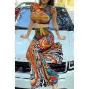 Lovely Bohemian O Neck Print Multicolor Two-piece