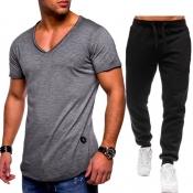 Lovely Casual V Neck Basic Grey Two-piece Pants Se