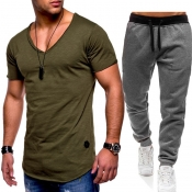 Lovely Casual V Neck Basic Army Green Two-piece Pa