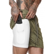 Lovely Trendy Lace-up Army Green Shorts