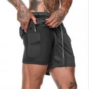 Lovely Trendy Lace-up Black Shorts