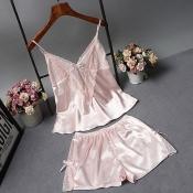 Lovely Sexy Lace Hem Light Pink Sleepwear