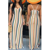 Lovely Sexy Striped Multicolor Maxi Dress
