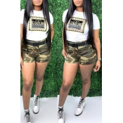 Lovely Leisure Camo Print Two-piece Shorts Set