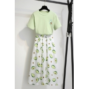 Lovely Trendy Print Light Green Plus Size Two-piec