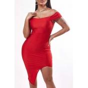 Lovely Sexy Asymmetrical Red Mini Dress