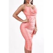 Lovely Sexy V Neck Fold Design Pink Knee Length Dr