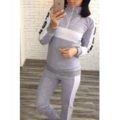 Lovely Trendy Patchwork Grey Loungewear